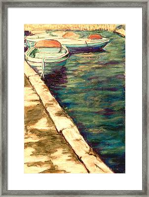 Blue Boats At Llangorse Wales Framed Print by Judy Adamson