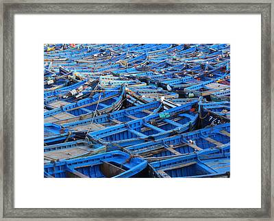 Framed Print featuring the photograph Blue Boats Of Essaouira by Ramona Johnston