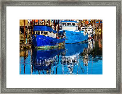 Blue Boats Reflection Framed Print by Garry Gay