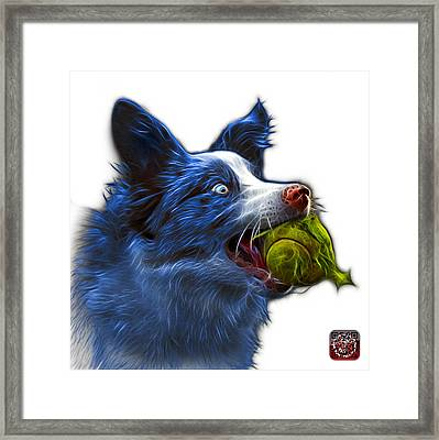 Framed Print featuring the painting Blue Border Collie - Elska -  9847 - Wb by James Ahn