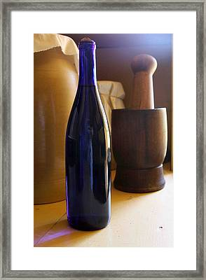 Blue Bottle And Mortar Framed Print