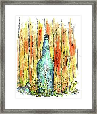 Framed Print featuring the painting Blue Bottle by Cathie Richardson