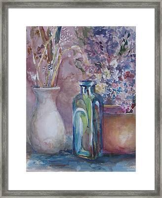 Blue Bottle Framed Print by Dorothy Herron