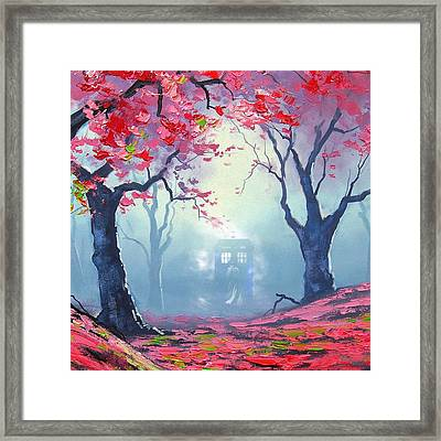 Blue Box Cloud Sakura Painting  Framed Print by Koko Priyanto