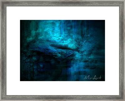 Blue Bridge Abstract Framed Print by Miriam Shaw