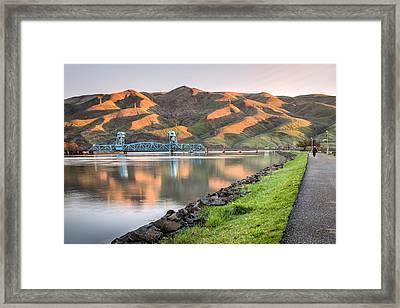 Blue Bridge From The Levee Framed Print