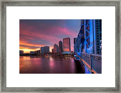 Blue Bridge Red Sky Jacksonville Skyline Framed Print by Debra and Dave Vanderlaan
