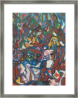 Blue Brown People Framed Print by James Christiansen