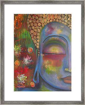 Buddha In Blue Meditating  Framed Print