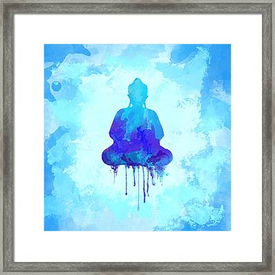 Blue Buddha Watercolor Painting Framed Print by Thubakabra