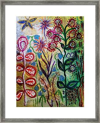 Framed Print featuring the mixed media Blue Bug In The Magic Garden by Mimulux patricia no No