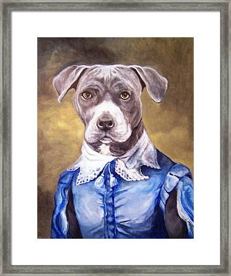 Framed Print featuring the painting Blue Bully Boy by Laura Aceto