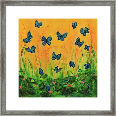 Blue Butterflies In Early Morning Garden Framed Print