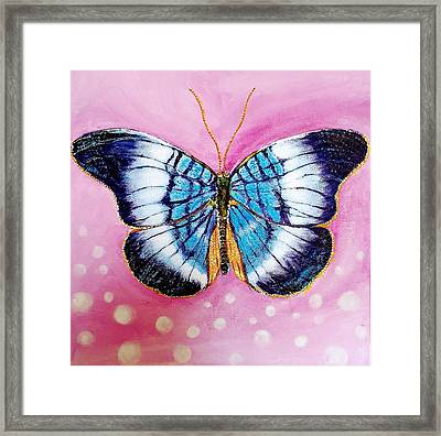 Blue Butterfly Framed Print by Hye Ja Billie