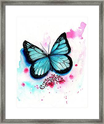 Blue Butterfly Framed Print by Isabel Salvador