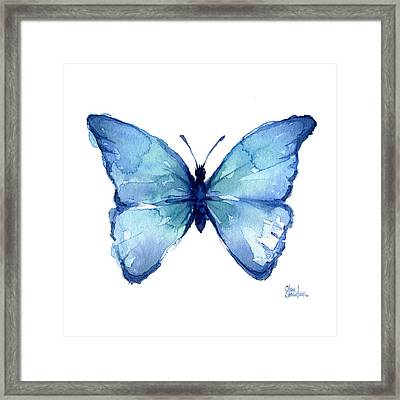 Blue Butterfly Watercolor Framed Print