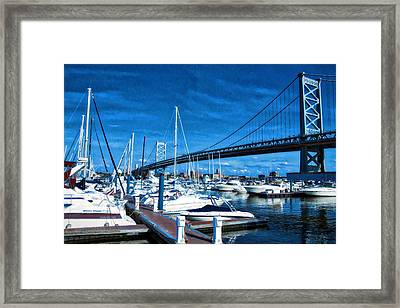 Blue By The Bridge Framed Print by Alice Gipson