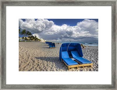 Blue Cabana Framed Print by Debra and Dave Vanderlaan
