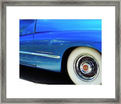 Framed Print featuring the photograph Blue Cadillac - Classic Car by Ann Powell