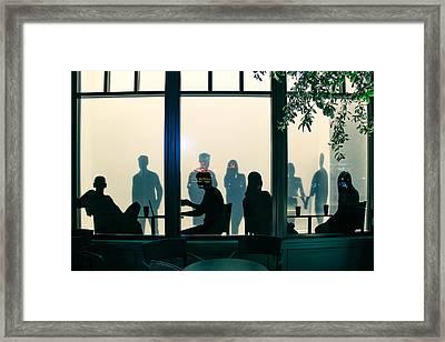 Blue Cafe Framed Print by Bobby Villapando