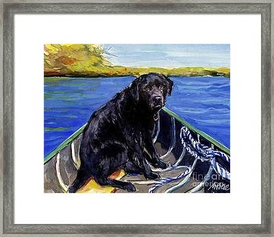 Framed Print featuring the painting Blue Canoe by Molly Poole