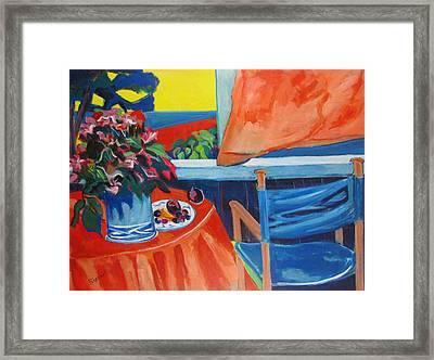 Blue Canvas Chair Framed Print