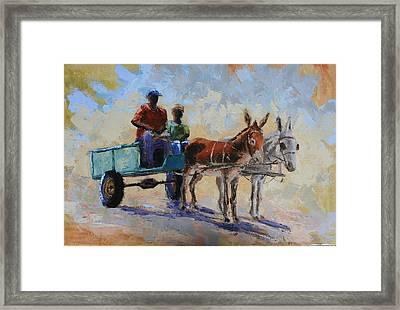 Blue Cart Framed Print by Yvonne Ankerman