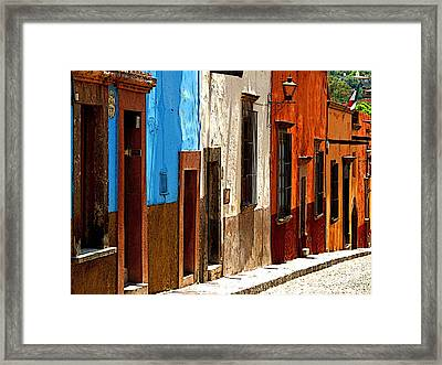 Blue Casa Row Framed Print by Mexicolors Art Photography
