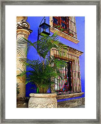 Blue Casa With Fern Framed Print by Mexicolors Art Photography