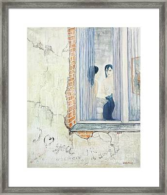 Blue Cat And Dark Lady Framed Print