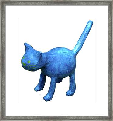 Blue Cat Framed Print by Maria Rosa
