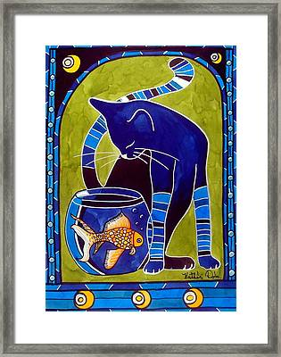 Framed Print featuring the painting Blue Cat With Goldfish by Dora Hathazi Mendes