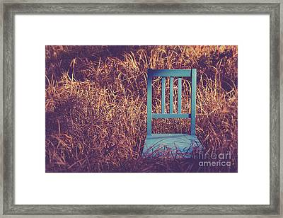 Blue Chair Out In A Field Of Talll Grass Framed Print by Edward Fielding
