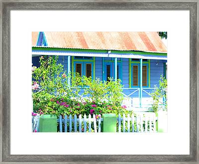 Blue Chattel House Framed Print by Barbara Marcus