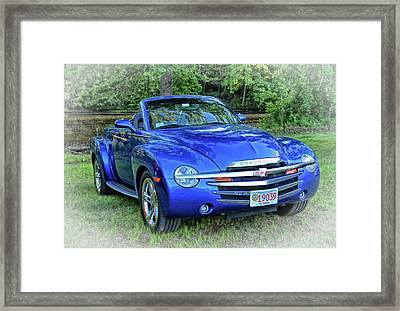 Blue Chevy Super Sport Roadster Framed Print