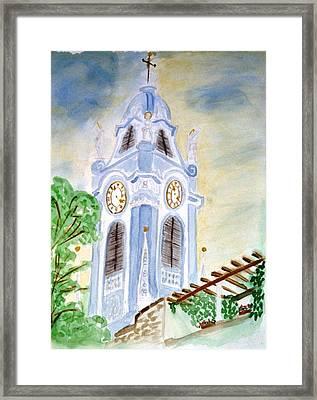 Blue Church Tower  Framed Print
