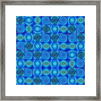 Blue Circles Abstract Art By Sharon Cummings Framed Print