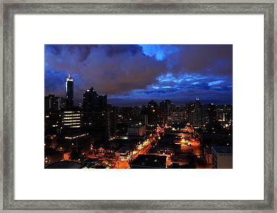 Blue City Framed Print by Angie Wingerd