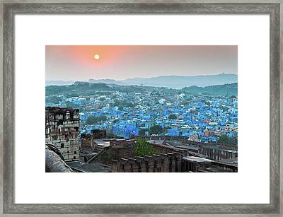 Blue City At Sunset Framed Print by Massimo Calmonte (www.massimocalmonte.it)