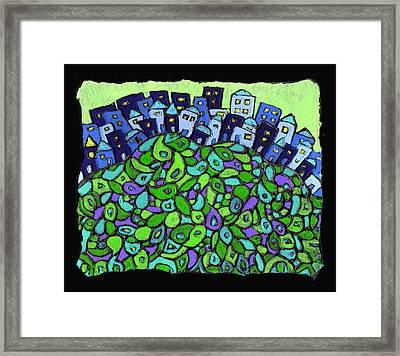 Blue City On A Hill Framed Print by Wayne Potrafka