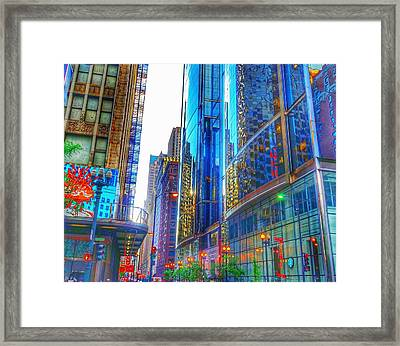 Framed Print featuring the photograph Blue Cityscape by Marianne Dow