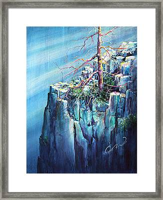 Blue Clff And Tree Framed Print