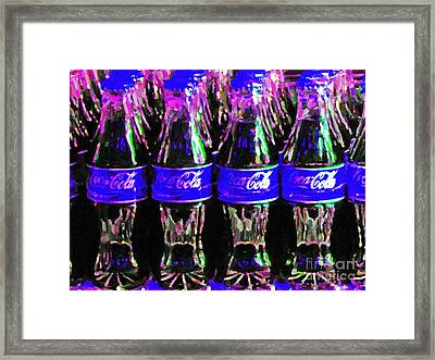 Blue Coca Cola Coke Bottles Framed Print