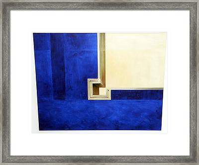 Blue Construktion On White Framed Print by Albert Kutzelnig