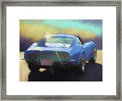 Blue Corvette Framed Print