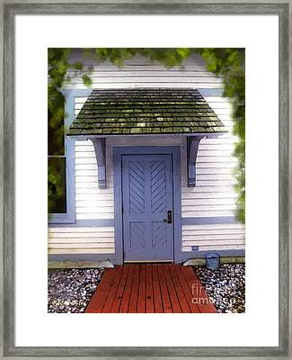 Blue Cottage Door In Early Fall Framed Print