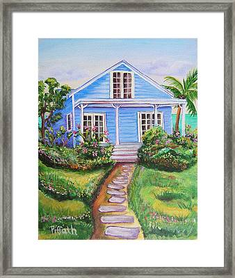 Blue Cottage Framed Print