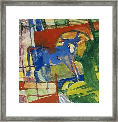 Blue Cow Framed Print by Franz Marc