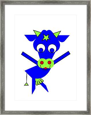 Blue Cow Margaret Framed Print by Asbjorn Lonvig