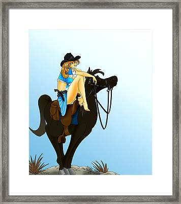 Framed Print featuring the painting Blue Cowgirl by Lynn Rider